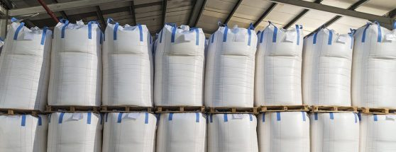 Large group of bulk bags in warehouse
