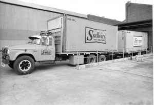 Black and white image of old Sadleirs truck