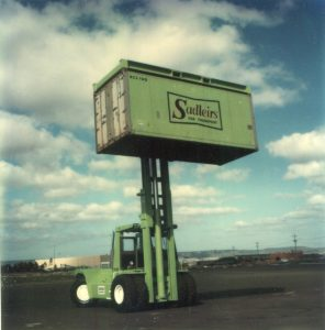 Old Sadleirs Container being lifted