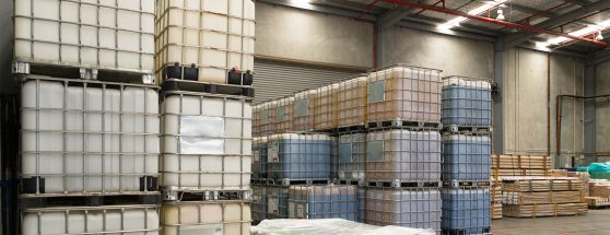 Stacked IBC's in Sadleirs warehouse