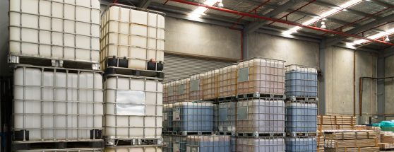 Stacks of IBC's in Sadleirs Melbourne warehouse
