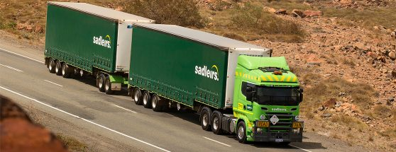 Sadleirs truck on the road in an Australian setting