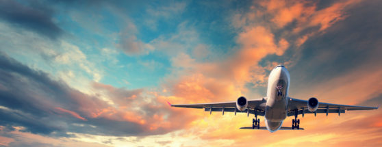 Cargo plane in flight