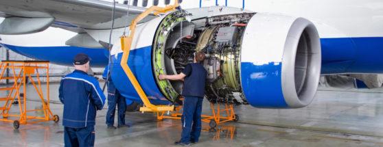Engine maintenance of scheduled aircraft.