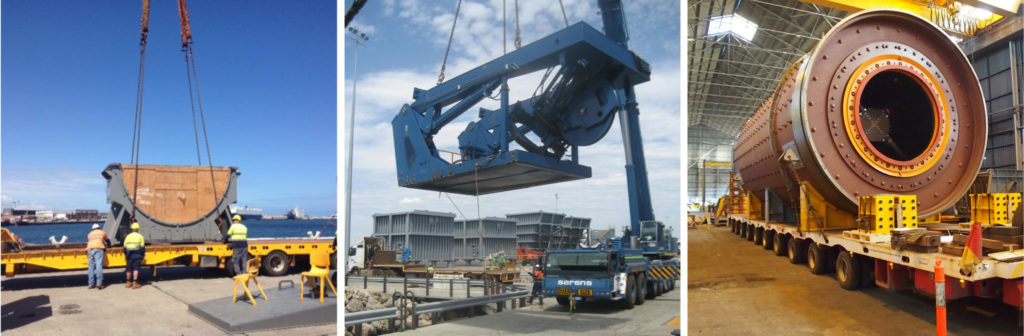 Large machinery movements by crane, truck and ship
