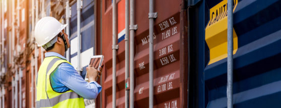 customs clearance check of container on wharf